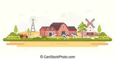Country life - modern flat design style vector illustration...