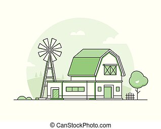 Country life - modern thin line design style vector...