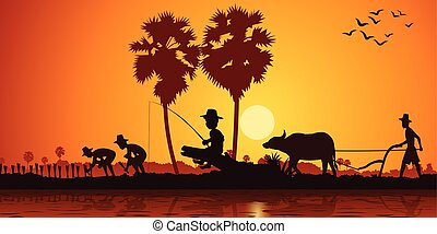 country life of Asia boy fishing while farmer plant rice and another plow field by buffalo on sunrise time, silhouette style, vector illustration