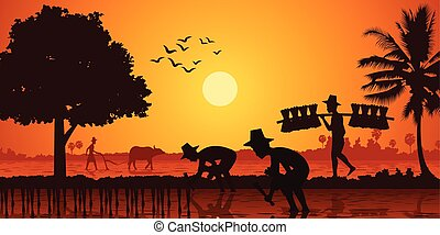 country life of Asia farmer plant rice while a man carry rice seedling and another plow field by buffalo on sunrise time, silhouette style, vector illustration