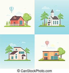 Country life - set of modern flat design style vector...