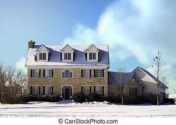 Country Manor - A large three story house made of stones...