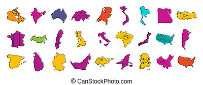Country map icon set, color outline style