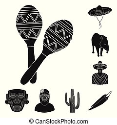 Country Mexico black icons in set collection for design....