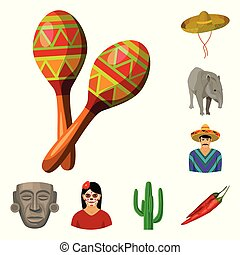 Country Mexico cartoon icons in set collection for design....