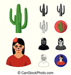 Country Mexico cartoon,black,flat,monochrome,outline icons...
