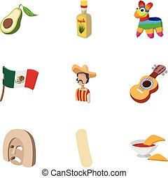 Country Mexico icons set, cartoon style