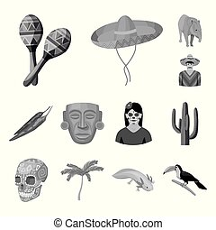 Country Mexico monochrome icons in set collection for...