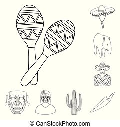 Country Mexico outline icons in set collection for design....