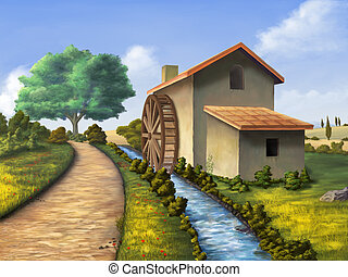 Country mill - Old mill in a country landscape. Digital...