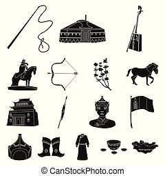 Country Mongolia black icons in set collection for design.Territory and landmark vector symbol stock web illustration.