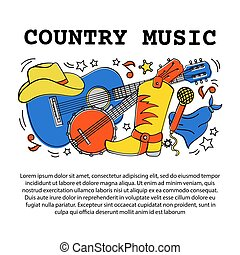 COUNTRY MUSIC ARTICLE American Cowboy Western Festival Vector Illustration for Print Fabric and Decoration