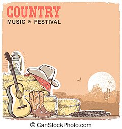 Country music background with guitar and american cowboy equipment. Vector hand draw ilustration with text