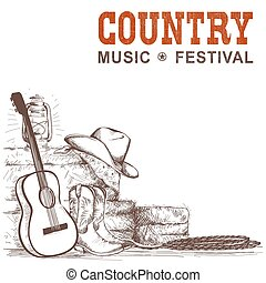 Country music background with guitar and american cowboy shoes and western hat. Vector hand draw ilustration for text