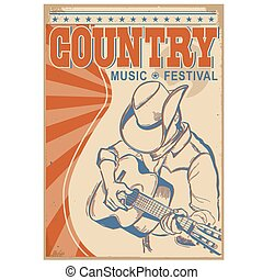 Country music background with text. Musician in cowboy hat playing guitar