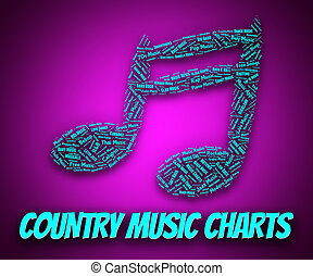 Country Music Charts Indicates Best Sellers And Albums