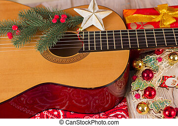 Country music christmas background with guitar and cowboy...