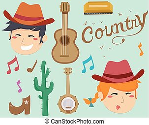 Country Music Elements Illustration