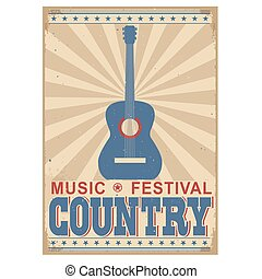 Country music festival background with text. Vector isolated on white