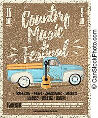 Country Music Festival Flyer. Vintage styled vector illustration.