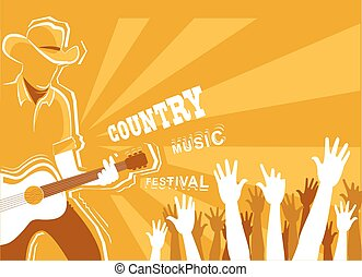 Country music festival poster with musician playing guitar.Vector background