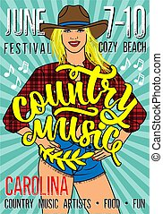 Country Music Festival Poster with Sexy Country Girl In...