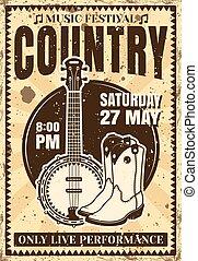 Country music festival vintage poster illustration