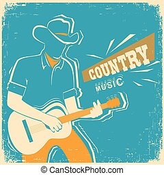Country music festival with musician playing guitar on old...
