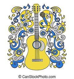 COUNTRY MUSIC HOLIDAY Western Festival Vector Illustration Set