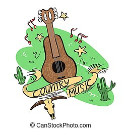 Country music logo with guitar, cacti, skull and notes.