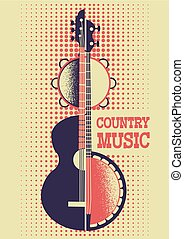 Country Music poster background with musical instruments and decoration for text