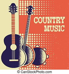 Country Music poster background with musical instruments on old paper