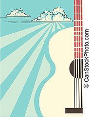 Country Music poster with musical instrument acoustic guitar.Vector blue sky background