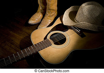 Country Music Spotlight - Spotlight on country guitar, boots...