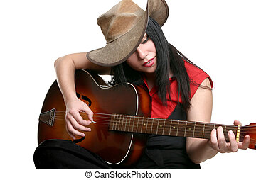 Country Musician - A woman playing country and western music...