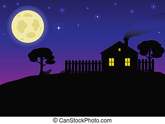 Country Night  - Night landscape with a house and a big moon