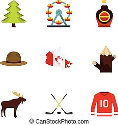 Country of Canada icon set, flat style