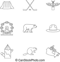 Country of Canada icon set, outline style