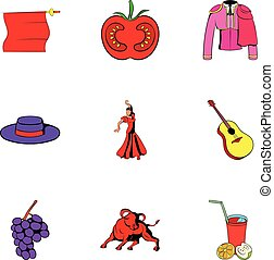 Country of spain icons set, cartoon style