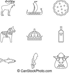 Country of Vikings icons set, outline style