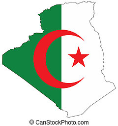 Country outline with the flag of Algeria in it