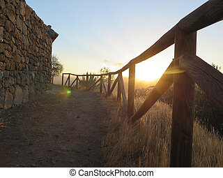 Country path at dawn
