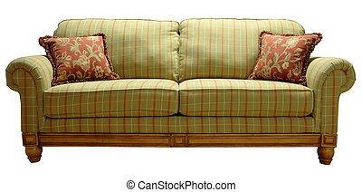 Country Plaid Sofa - Green Country Plaid Sofa with Pine...