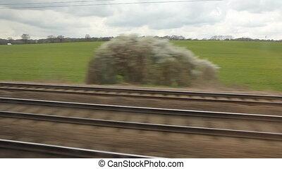 country., reizen, uk, trein