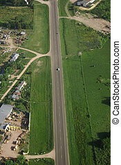 Country road and Green field aerial view