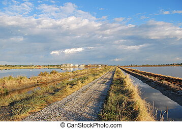 Country road and scenic saltern - Country road, scenic...
