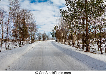 Country road covered with snow