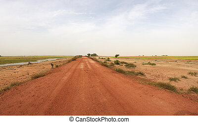 Country road in Mali - Near Mopti, red gravel road late ...