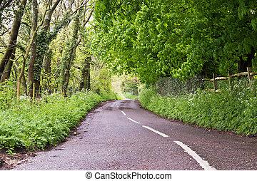 Country road in rural farmland Surrey, England