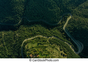 Country road in the shape of an M